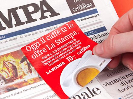 La Stampa e Torino Sette ti offrono il caffè, campagna stampa e affissione.
